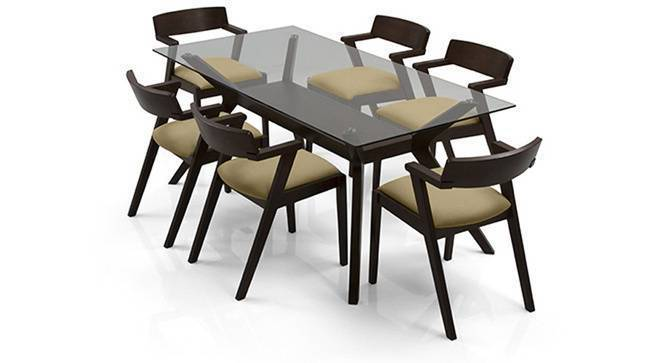 Wesley - Thomson 6 Seater Dining Table Set (Beige, Dark Walnut Finish) by Urban Ladder - Front View Design 1 - 157630