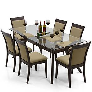 Wesley Dalla 6 Seater Dining Table Set Beige Lp