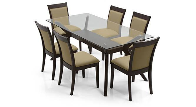 Wesley - Dalla 6 Seater Dining Table Set (Beige, Dark Walnut Finish) by Urban Ladder - Front View Design 1 - 157770