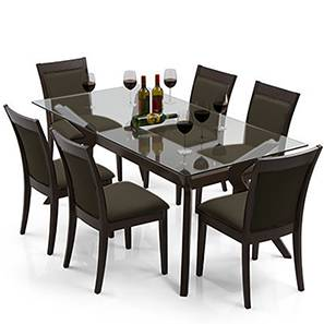 Wesley - Dalla 6 Seater Dining Table Set (Grey, Dark Walnut Finish) by Urban Ladder