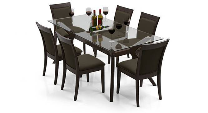 Wesley - Dalla 6 Seater Dining Table Set (Grey, Dark Walnut Finish) by Urban Ladder - Design 1 Full View - 157782