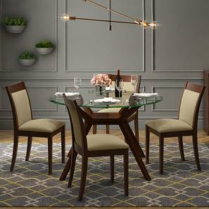 Wesley - Dalla 4 Seater Round Glass Top Dining Table Set (Beige, Dark Walnut Finish) by Urban Ladder
