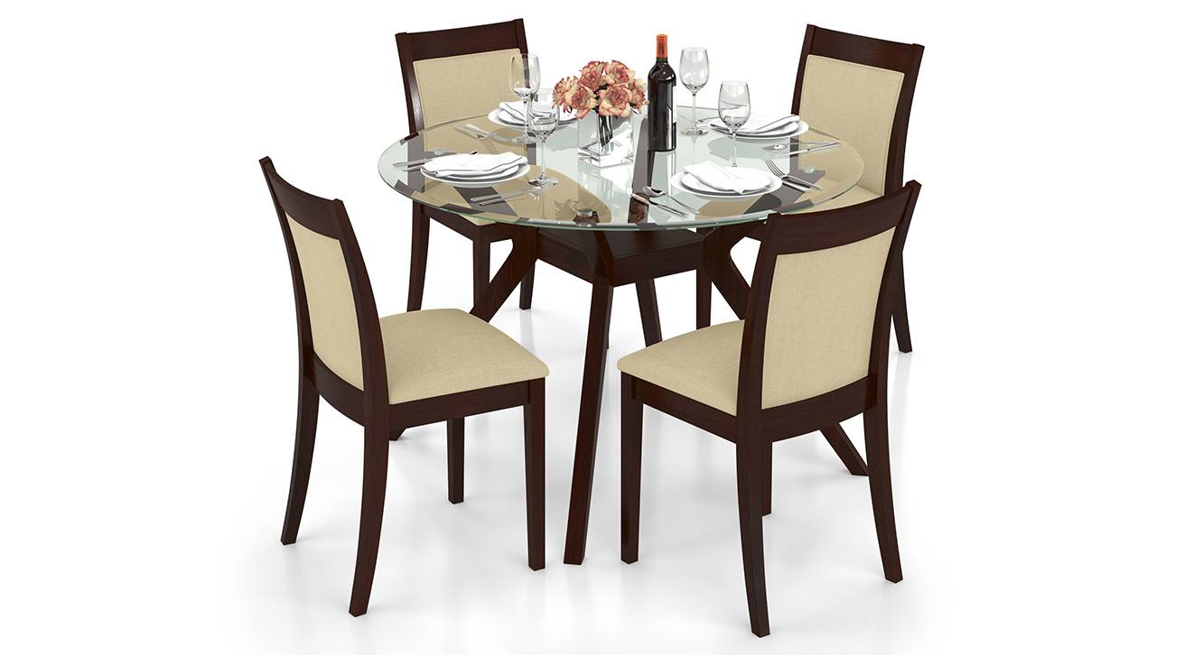 Picture of: Wesley Dalla 4 Seater Round Glass Top Dining Table Set Urban Ladder