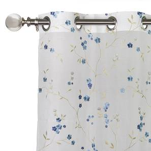 "Tivoli Embroidered Sheer Curtain - Set Of 2 (Blue, 52""x104"" Curtain Size) by Urban Ladder"