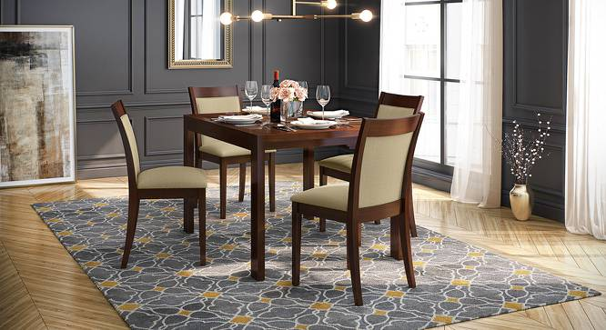 Vanalen 4 to 6 Extendable - Dalla 4 Seater Glass Top Dining Table Set (Beige, Dark Walnut Finish) by Urban Ladder - Design 1 Full View - 158227
