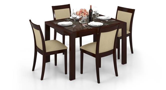 Vanalen 4 to 6 Extendable - Dalla 4 Seater Glass Top Dining Table Set (Beige, Dark Walnut Finish) by Urban Ladder - Front View Design 1 - 158228