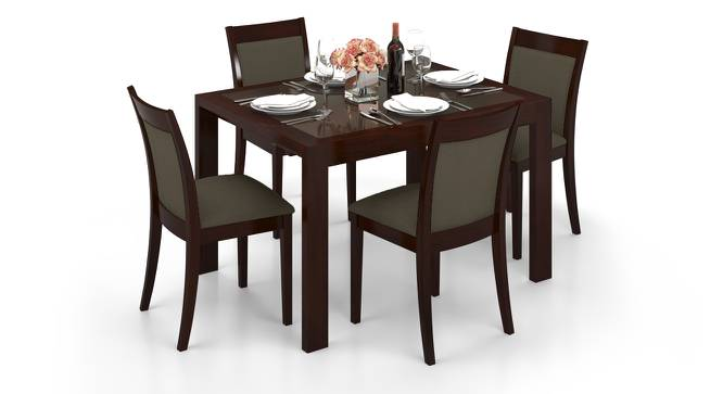 Vanalen 4 to 6 Extendable - Dalla 4 Seater Glass Top Dining Table Set (Grey, Dark Walnut Finish) by Urban Ladder - Front View Design 1 - 158243