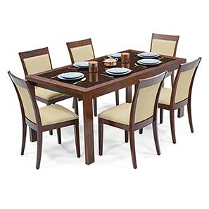 Vanalen 6-to-8 Extendable - Dalla 6 Seater Glass Top Dining Table Set (Beige, Dark Walnut Finish) by Urban Ladder