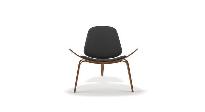 Wegner Shell Chair Replica (Black) by Urban Ladder - Front View Design 1 - 158402