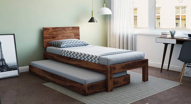 Boston Single Bed (Solid Wood) (Teak Finish, With Trundle) by Urban Ladder - Design 1 Full View - 158575