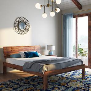 Marieta Bed (Solid Wood) (Teak Finish, Queen Bed Size) by Urban Ladder - Design 1 Full View - 158655