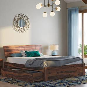 Marieta Storage Bed (Solid Wood) (Teak Finish, Queen Bed Size, Drawer Storage Type) by Urban Ladder - Design 1 Full View - 158672