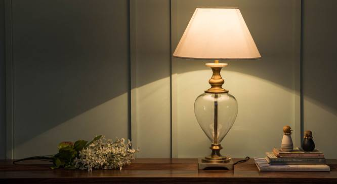 Rossetti Table Lamp (Brass Base Finish, White Shade Color, Conical Shade Shape) by Urban Ladder