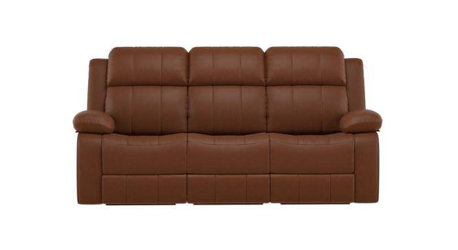 Robert Three Seater Recliner Sofa (Tan Leatherette) by Urban Ladder