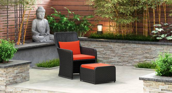Bentham Patio Chair and Footstool (Rust) by Urban Ladder - Design 1 Full View - 159772