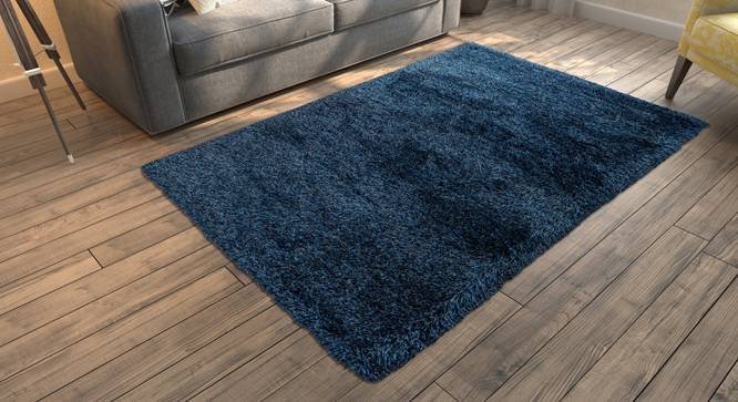 "Linton Shaggy Rug (Blue, 96"" x 60"" Carpet Size) by Urban Ladder"