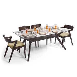 Wesley - Thomson 6 Seater Dining Table Set (Beige, Dark Walnut Finish) by Urban Ladder - Design 1 Full View - 157629