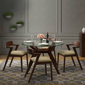 Wesley - Thomson 4 Seater Round Glass Top Dining Table Set (Beige, Dark Walnut Finish) by Urban Ladder - Design 1 Full View - 157617