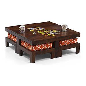 Kivaha 4-Seater Coffee Table Set (Walnut Finish, Morocco Lattice Rust) by Urban Ladder