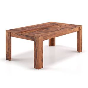Striado Coffee Table (Teak Finish, Without Shelves Configuration) by Urban Ladder