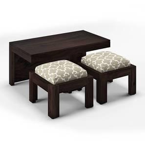Kivaha 2-Seater Coffee Table Set (Ebony Finish, Morocco Lattice Beige) by Urban Ladder