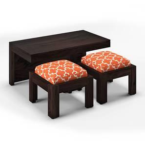 Kivaha 2-Seater Coffee Table Set (Ebony Finish, Morocco Lattice Rust) by Urban Ladder