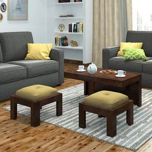 Kivaha 2-Seater Coffee Table Set (Walnut Finish, Beige) by Urban Ladder - Picture - 161707
