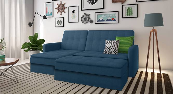 Peckham Sectional Sofa Cum Bed with Ottoman (Blue) by Urban Ladder - Design 1 Full View - 162506