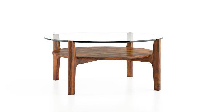 Cayman Glasstop Coffee Table (Teak Finish, With Shelf) by Urban Ladder - Front View Design 1 - 162623