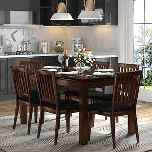 Diner 6 Seater Dining Table Set (With Upholstered Chairs) (Dark Walnut Finish) by Urban Ladder
