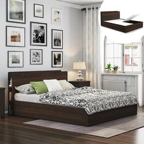 Cavinti Storage Bed With Headboard Shelves (Queen Bed Size, Dark Walnut Finish, Box Storage Type) by Urban Ladder