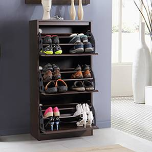 Pointe Shoe Cabinet (Dark Walnut Finish, Simple Configuration, 21 Pair Capacity) by Urban Ladder