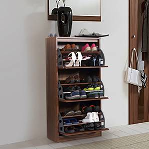 Pointe Shoe Cabinet (Walnut Finish, Simple Configuration, 21 Pair Capacity) by Urban Ladder