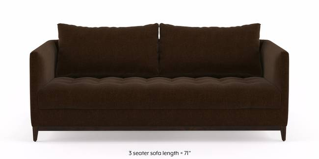 Florence Compact Sofa  (Dark Earth) (3-seater Custom Set - Sofas, None Standard Set - Sofas, Dark Earth, Fabric Sofa Material, Compact Sofa Size, Regular Sofa Type)