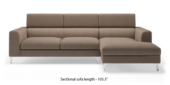 Chelsea Adjustable Sectional Sofa (Brown) (Brown, None Standard Set - Sofas, Fabric Sofa Material, Regular Sofa Size, Sectional Sofa Type, Left Aligned 3 seater + Chaise Custom Set - Sofas) by Urban Ladder