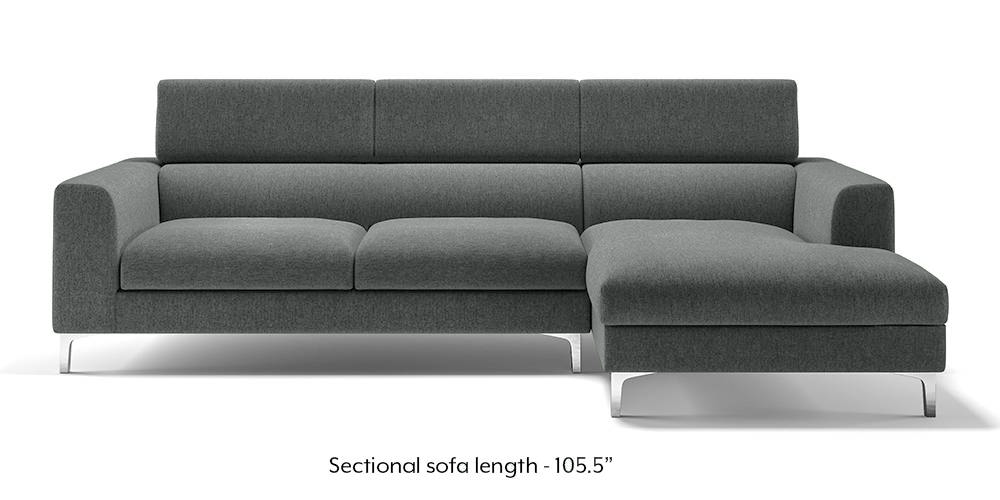 Chelsea Adjustable Sectional Sofa (Grey) (Grey, None Custom Set - Sofas, Left Aligned 3 seater + Chaise Standard Set - Sofas, Fabric Sofa Material, Regular Sofa Size, Sectional Sofa Type) by Urban Ladder