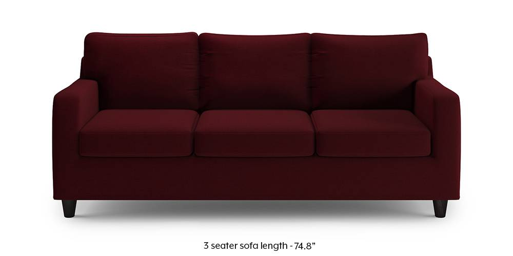 Walton Compact Sofa (Sangria Red) (1-seater Custom Set - Sofas, None Standard Set - Sofas, Sangria Red, Fabric Sofa Material, Regular Sofa Size, Regular Sofa Type) by Urban Ladder
