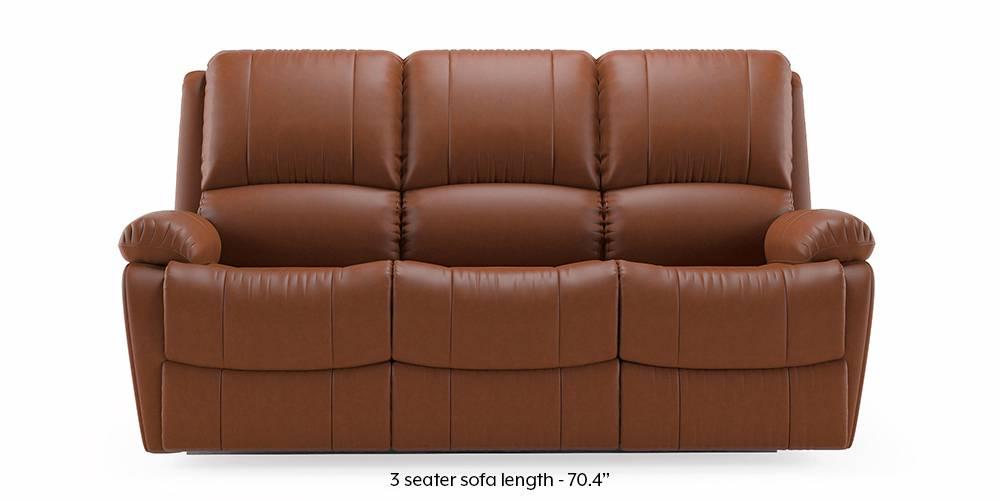 Tribbiani Recliner Sofa Set (Tan Leatherette) (3-seater Custom Set - Sofas, None Standard Set - Sofas, Leatherette Sofa Material, Regular Sofa Size, Regular Sofa Type, Tan Leatherette) by Urban Ladder