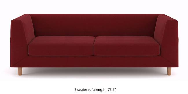 Rubik Sofa (Sangria Red) (3-seater Custom Set - Sofas, None Standard Set - Sofas, Sangria Red, Fabric Sofa Material, Regular Sofa Size, Regular Sofa Type)