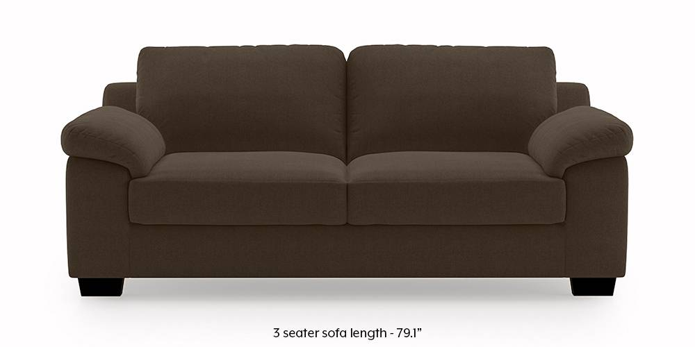 Esquel Sofa (Dark Brown) (3-seater Custom Set - Sofas, None Standard Set - Sofas, Dark Brown, Fabric Sofa Material, Regular Sofa Size, Regular Sofa Type) by Urban Ladder