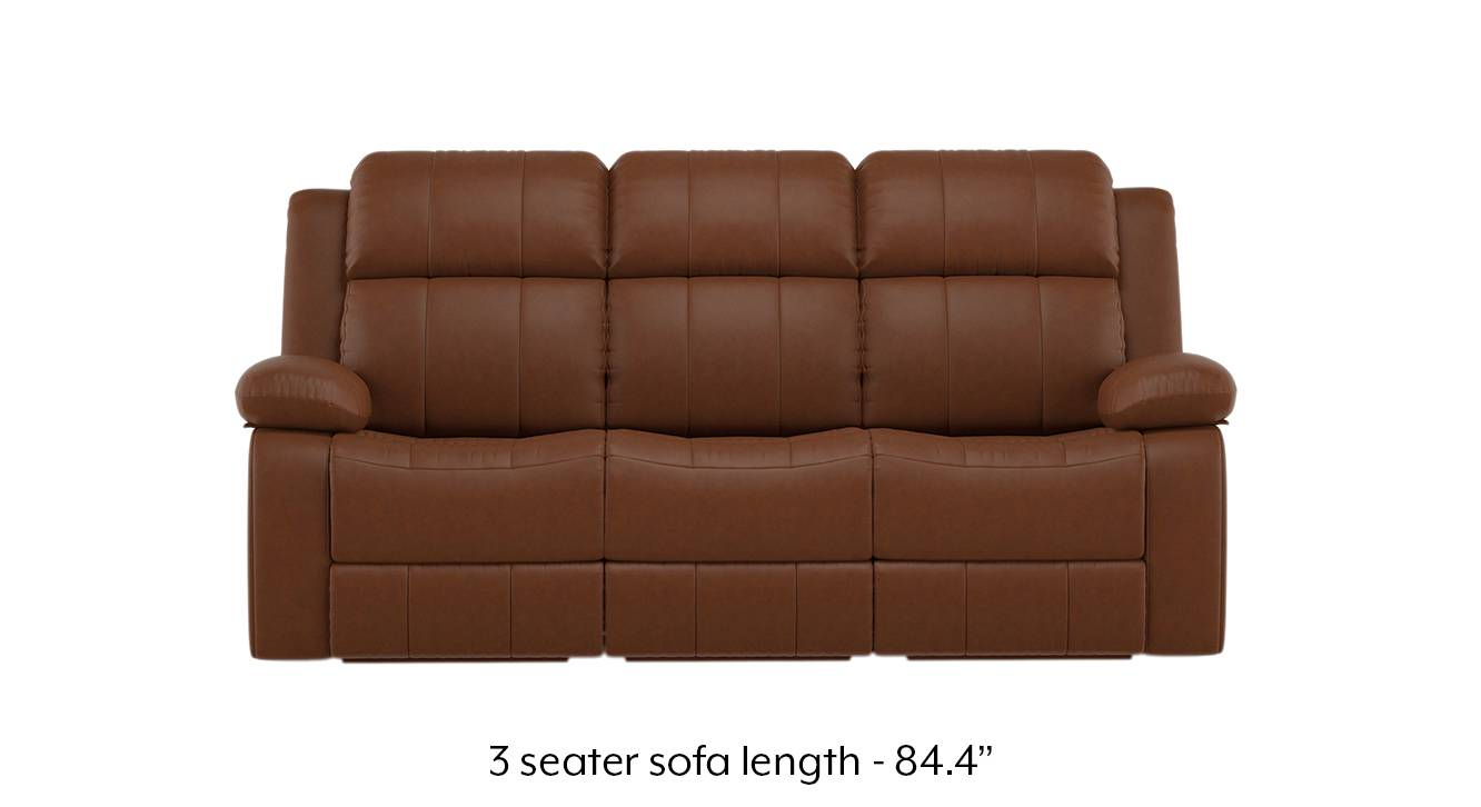 Robert Recliner Sofa Set (Tan Brown Leatherette) (1-seater Custom Set - Sofas, None Standard Set - Sofas, Leatherette Sofa Material, Regular Sofa Size, Regular Sofa Type, Tan Leatherette) by Urban Ladder