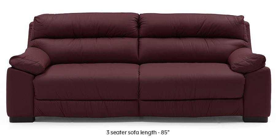 Thiene Sofa (Wine Italian Leather) (Regular Sofa Size, Regular Sofa Type, Leather Sofa Material, Wine) by Urban Ladder