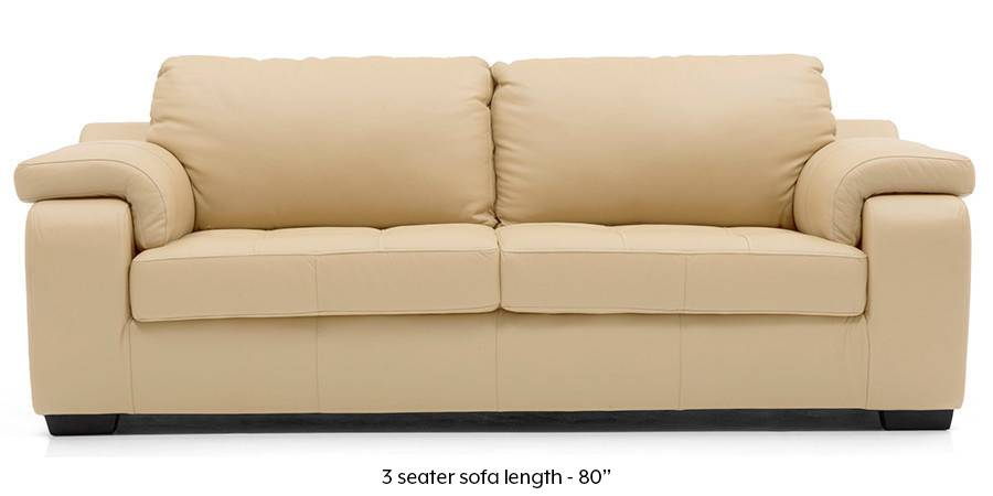 Trissino Sofa (Cream Italian Leather) (Cream, Regular Sofa Size, Regular Sofa Type, Leather Sofa Material) by Urban Ladder