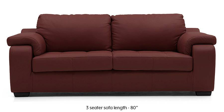 Trissino Sofa (Wine Italian Leather) (Regular Sofa Size, Regular Sofa Type, Leather Sofa Material, Wine) by Urban Ladder