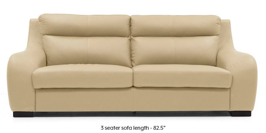Vicenza Sofa Cream Italian Leather Regular Size