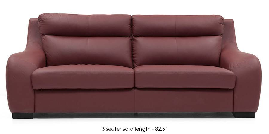 Vicenza Sofa (Wine Italian Leather) (Regular Sofa Size, Regular Sofa Type, Leather Sofa Material, Wine) by Urban Ladder