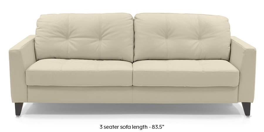 Franco Sofa (Cream Italian Leather) (Cream, Regular Sofa Size, Regular Sofa Type, Leather Sofa Material) by Urban Ladder - - 173740