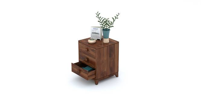 Magellan Bedside Table (Teak Finish) by Urban Ladder - Design 1 Half View - 176018