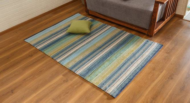 "Trebon Dhurrie (Blue, 91 x 152 cm  (36"" x 60"") Carpet Size) by Urban Ladder - Design 1 Full View - 176110"