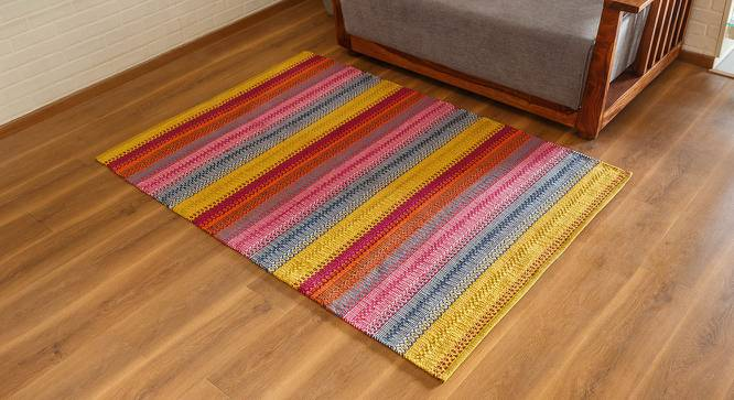 "Trebon Dhurrie (Raspberry, 91 x 152 cm  (36"" x 60"") Carpet Size) by Urban Ladder - Design 1 Full View - 176158"